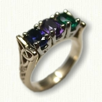 14kt Yellow Gold Custom Mothers Ring set with a Chatham Sapphire, Amethyst & Chatham Emerald
