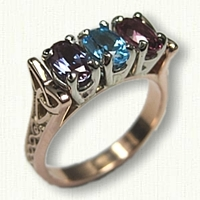 14kt Rose Gold Celtic Bridged Marishelle Mothers Ring set with a Chatham Alexandrite, Blue Zircon & Pink Tourmaline