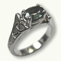 Celtic Wide Bridged Marishelle Mounting set with a natural green 1.04 ct oval sapphire