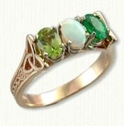 Custom Bridged Marishelle Mother's Ring set with a Peridot, Opal & Emerald