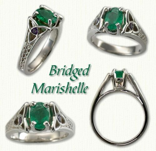 Medium Bridged Marishelle #1: 14kt white gold with 7x5mm emerald cut emerald set in a North-South orientation.