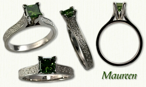 14kt white gold Maureen set with a princess cut green diamond. Celtic Heart and Knot pattern on the shank.