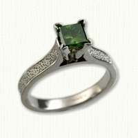 14kt white gold 'Maureen' Engagement Ring set with princess cut green diamond