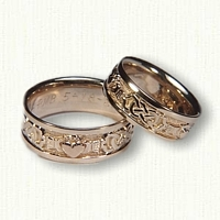 14kt Yellow McMahon Claddagh Wedding Bands with 14kt Rose Gold Raised Hear