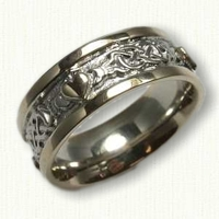 McMahon Claddagh Knot Wedding Band with RAISED hearts and rails