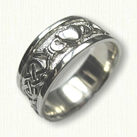 Sterling Silver McMahon & Claddagh Knot Wedding Band with Raised Heart - 10.0mm