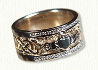 14KT two tone McMahon Claddagh Band with Diamonds