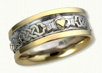 McMahon Claddagh Band with 14kt white center, yellow rails and yellow Raised Hearts. 3-4 hearts per band, 8mm