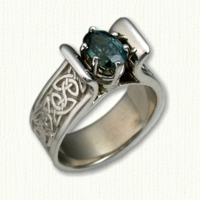 14kt white gold 'Meghan' Engagement Ring with oval blue-green sapphire