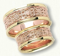 14kt Rose Gold, 18kt Yellow Gold Custom Celtic Cross/Claddagh and Mohan Knot Wedding Band Set