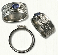 Custom Mohan knot with alternating Crosses Engagement Ring set with an .85ct Oval Blue Sapphire- set East/West