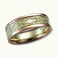 14kt Green Gold Mohan Claddagh Knot Band with 14kt Rose Gold Rails