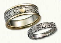 14kt Two Tone Mohan Knot & Claddagh Wedding Band with 14kt Raised Heart Wedding Band Set