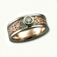 Custom 14kt Rose Gold with 14kt White Rails Diamond Mohan Knot Wedding Band