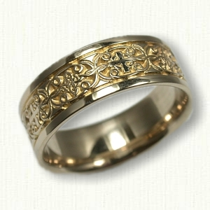 ... 14kt Yellow Gold Mohan With Alternating Cross Wedding Band ...