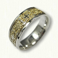 Sterling Silver Celitc Mohan Knot with Cross Wedding Band with 18kt Electroplating in Recessed Areas