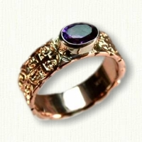 14kt Rose Gold Sculpted 6mm Mohan Knot Band with 7 x 5 mm Oval Amethyst Bezel Set