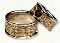 Custom Mohan Knot Wedding Band with Bezel Set Ruby. 14kt Yellow gold center/white rails