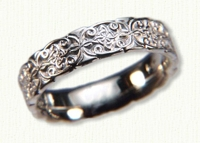 14kt white gold Sculpted Mohan Knot Celtic Wedding Ring
