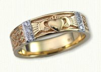 Custom 14kt yellow Murphy KnotBand with single Claddagh and Diamonds