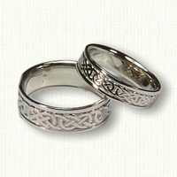 14kt White Gold Celtic Murphy Knot Wedding Band Set