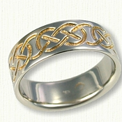 14kt White Gold Celtic Murphy Knot Band - Reverse Etch with 18kt Electroplating