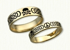 14kt Yellow Gold Custom Skull & Crossbones - Murphy Knot - Peace Symbol