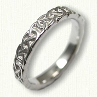 14kt White Gold Celtic Murphy Knot Wedding Band- sculpted - 4.0 mm width