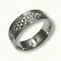 14kt White Gold  Celtic Murphy Knot with Crosses Wedding Band