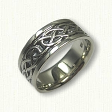 14kt White Gold Celtic Murphy Infinity Knot Wedding Band - 8mm wide - Black Ruthinium in Recessed Areas