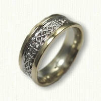 14kt Two Tone Celtic Murphy Knot Wedding Band with Crosses