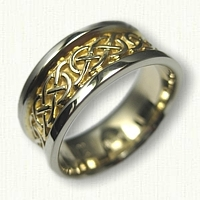 14kt Two Tone Gold Celtic Murphy Knot Wedding Band - 8.0 mm width