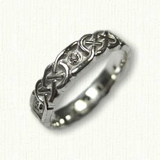 Sterling Silver Celtic Murphy Knot Wedding Band - Sculpted with Diamonds