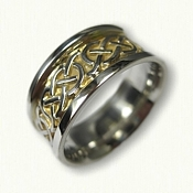 Sterling Silver Celtic Murphy Knot Wedding Band - with 18kt Electroplating in recessed areas