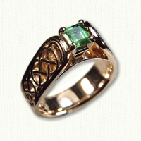 14kt yellow gold 'Grace' gemstone ring - pierced and tapered with emerald