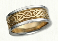 Celtic Murphy Knot Wedding Band with NO Spacing. 14kt yellow center/white rails