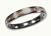 14kt white Celtic Narrow Murphy Knot Wedding Band with No Spacing
