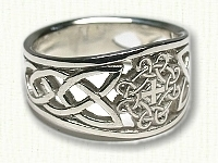 Tapered, pierced Circle Loop Ring with Cross