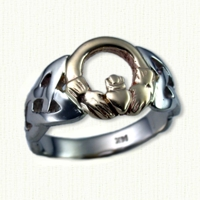 Open Round Claddagh Ring. 14kt yellow claddaugh with white gold shank