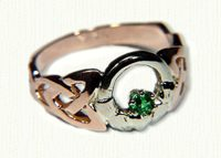 Two Tone Open Round Claddagh with emerald