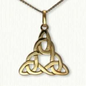 Celtic Triangle Knot with Circle Pendant curved