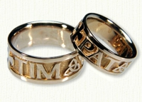Personalized 4 Point Knot Wedding Bands
