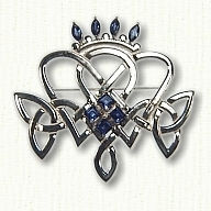 Pierced Celtic Knot Pin with sapphires