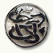 Sterling silver domed dragon pin