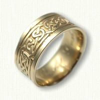 18kt Yellow Gold Celtic Pretzel Knot Wedding Band -9mm