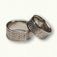 14kt White Gold Celtic Pretzel Knot Wedding Band Set - Wide