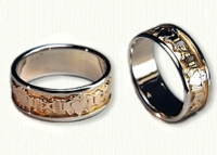 Continous Claddaugh Wedding Band with yellow center & white rails