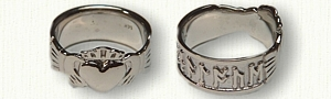 14kt White Gold Sculpted Custom Runes & Claddagh Wedding Band - Reverse Etch-Wide 8.0 mm