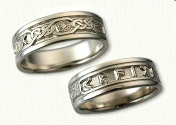 14kt White Gold Personalized Knot Band Pattern 2 Custom Runes And Black Sun Wedding Bands