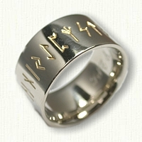 14kt White Gold Custom Runes Wedding Band - Reverse Etch - 11mm width
